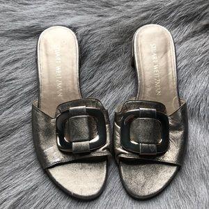 New Stuart Weitzman Gold Sandals Slides 5